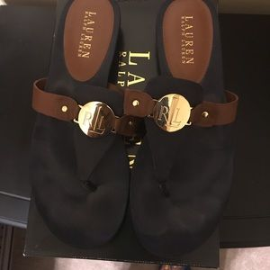 Lauren by Ralph Lauren navy/tan sandals